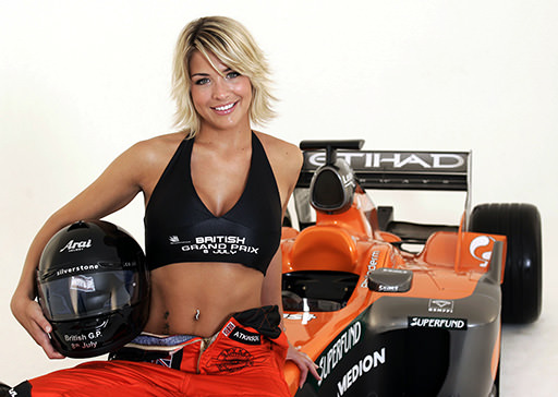 Gemma Atkinson and a Spyker F1 car