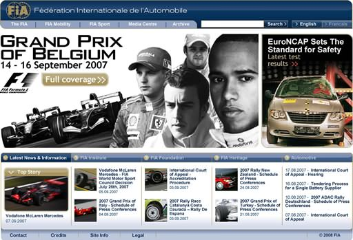 Proposed fia.com redesign for 2008
