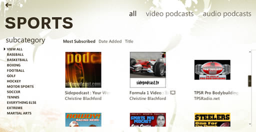 Sidepodcast listed in the Zune Marketplace