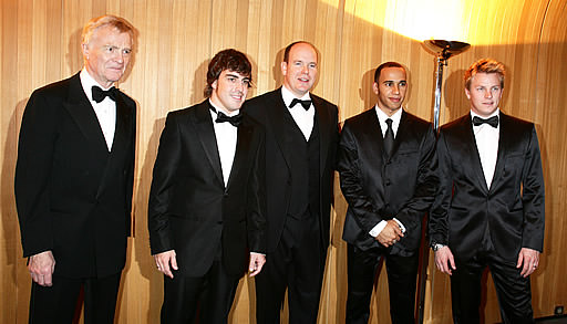 Max, Fernando, Prince Albert of Monaco, Lewis and Kimi