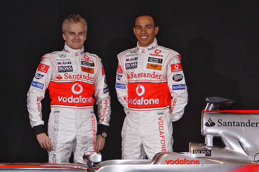 Lewis Hamilton and Heikki Kovalainen at the McLaren Launch