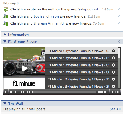 F1Minute Facebook wide profile screenshot