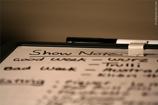 Podcast show notes in close up