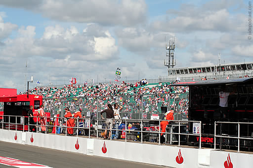 View of the grandstand and commentary boxes from the pitlane