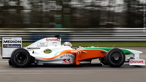 Force India on track at Silverstone