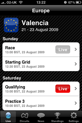 F1 Insider iPhone Application