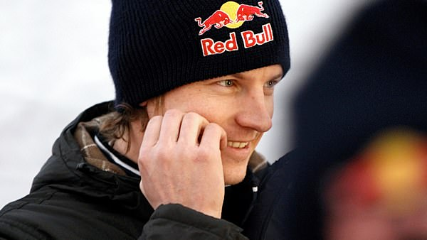 A smiling Kimi Räikkönen enjoys his time in ice and snow of Lapland.  Far away from the world of F1 livery launches.
