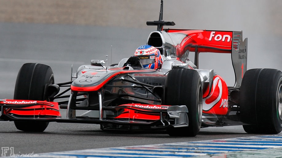 Jenson Button participates in wet Jerez testing