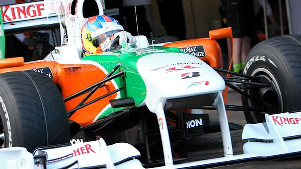 Paul di Resta exits the pits in Jerez for a run in the VJM03.