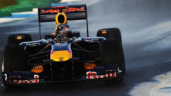 Sebastian Vettel gives the kerbs a wide berth in the RB6 at Jerez.