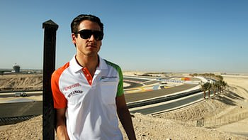 Adrian Sutil surveys the Bahrain scenery