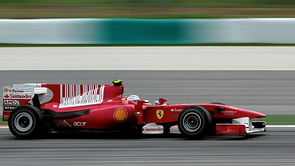 Fernando Alonso in the Ferrari, with added barcode