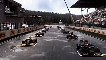 Screenshot of the grid forming at a wet Belgium Grand Prix in Formula 1 2010 from Codemasters.