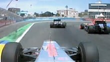 Hamilton stuck behind backmarkers