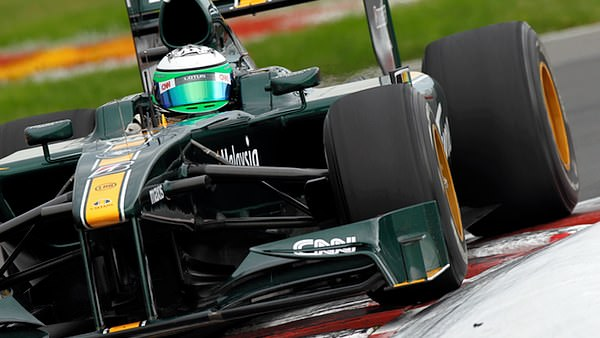 Heikki Kovalainen throws his T127 around Circuit Gilles Villeneuve on Sunday afternoon.