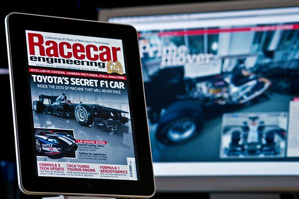 This month's edition of Racecar Engineering magazine on the iPad (foreground) and the desktop (background).