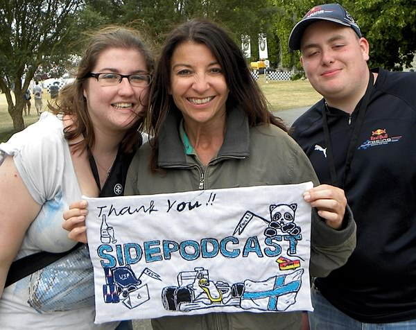 Lou, Holly and Chris with the Sidepodcast banner