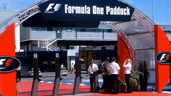 Entrance to the Formula One paddock in Silverstone.