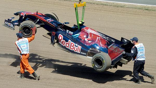 Jaime Alguersuari's Toro Rosso is town away after his British Grand Prix comes to an early end