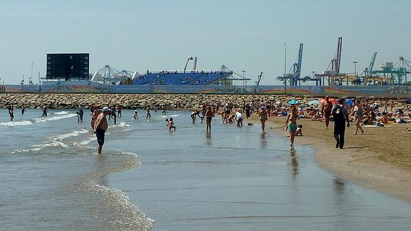 The beach, with an F1 grandstand visible in the background