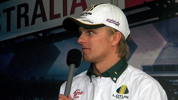 The star of the day - Heikki Kovalainen - makes an unexpected appearance