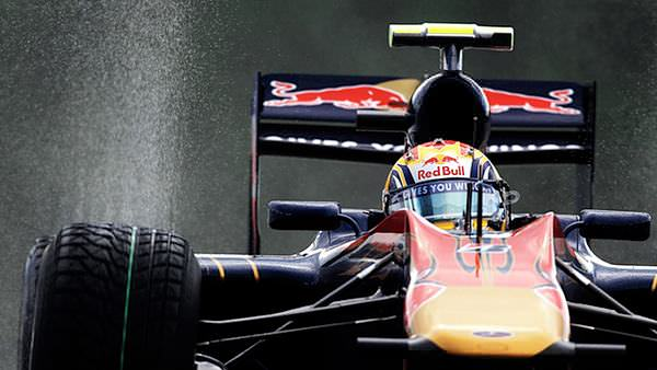 Jaime Alguersuari navigates a puddle during practice on Friday at Spa