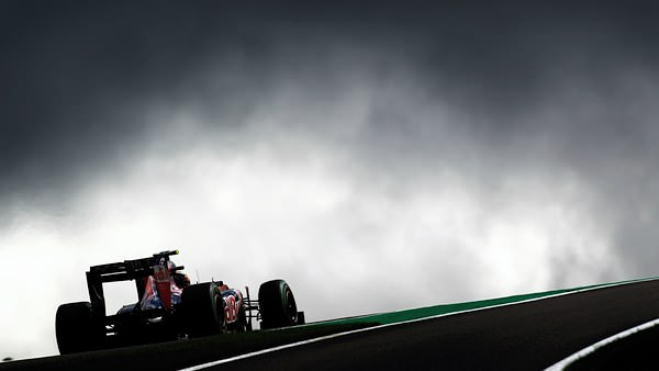 Jaime Alguersuari steers his Toro Rosso around the Spa circuit, contemplating the darkening skies