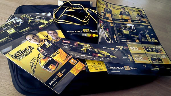 The contents of the goody bag handed out by Renault.