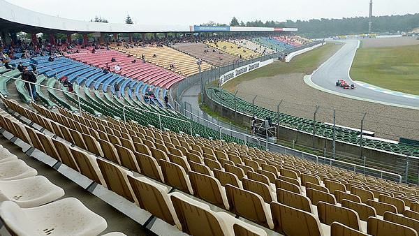 The inclement weather keeps the grandstands empty in Germany on Friday