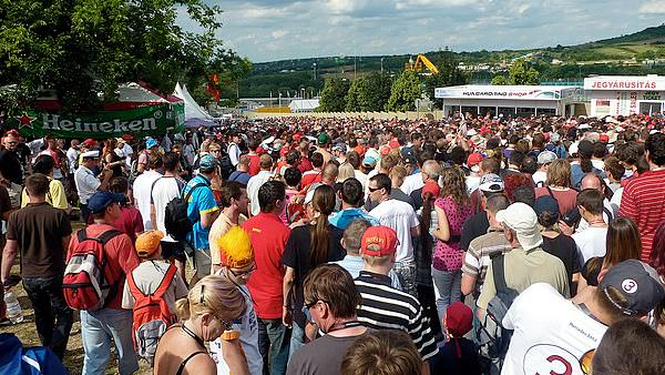 The crowds pour in to the Hungaroring to see the action