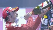 Alonso and champagne
