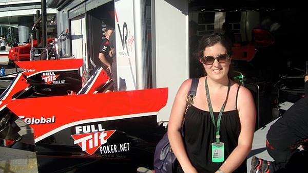 Amy gets into the Virgin Garage at Monza