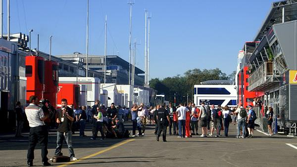 Amy gets into the paddock at Monza