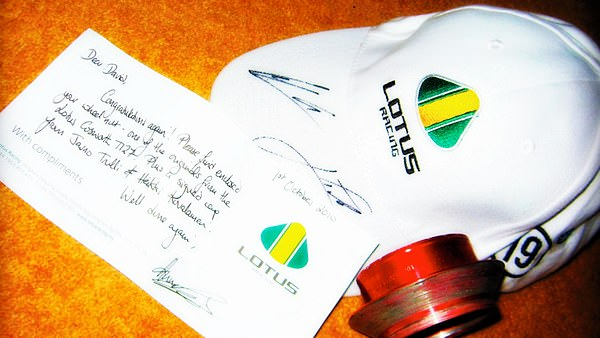 Prizes included a signed Trulli / Kovalainen cap and an original used Lotus racing wheel nut.