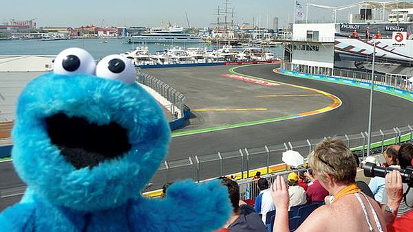 Monster adds a bit of colour to the Valencia circuit
