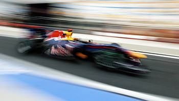 Vettel is a blur as he exits the pitlane in Korea