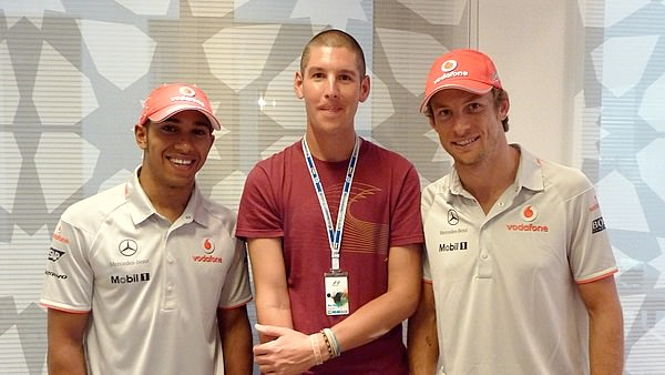 Alex finds some friends whilst visiting McLaren hospitality
