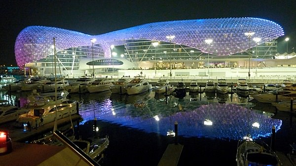 The hotel lights up in the twilight hours at Yas Marina