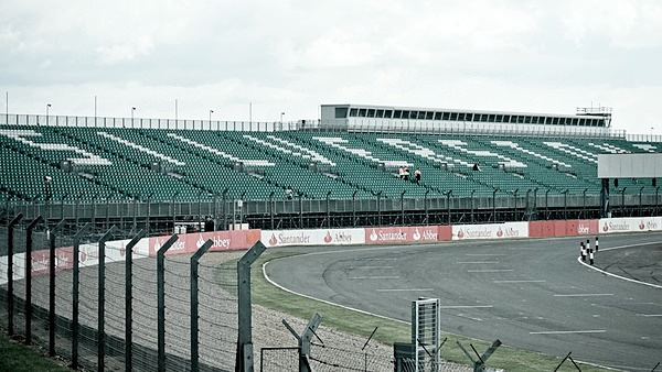 The Silverstone grandstands overlook the racing track