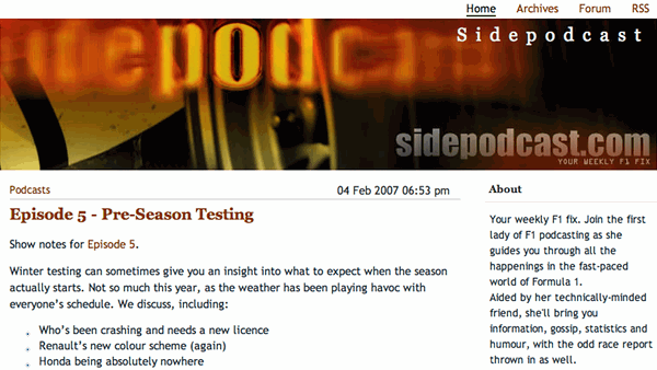 Sidepodcast.com from way back when