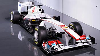 The Sauber C30 sports an interesting collections of decals