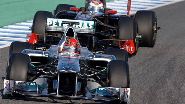 Michael Schumacher leads Vitaly Petrov testing in Jerez