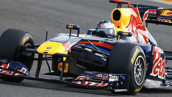 Sebastian Vettel leads the way, giving the RB7 a workout