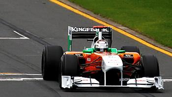 Adrian Sutil makes his way around Albert Park for the first time in 2011