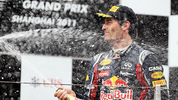 Mark Webber races through the field to the podium in China
