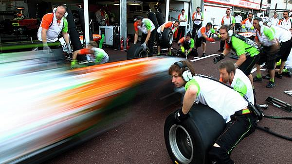 Pitstop practice for Force India in Monaco