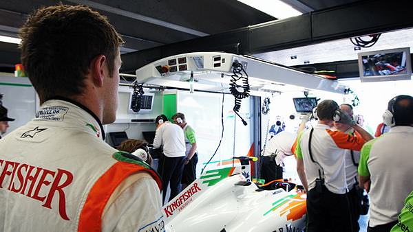 Paul di Resta watches TV on Friday in Canda