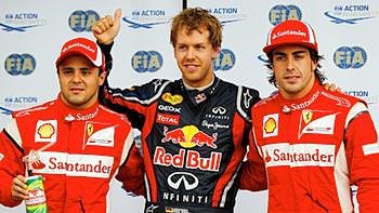 Vettel is surrounded by Ferrari drivers after qualifying in Canada