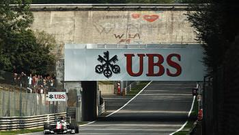 Liuzzi ducks under the bridge on Saturday in Monza