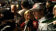 Schumacher talks to the press